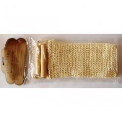 A41 Мочалка натуральная, мелкая вязка, деревянная ручка