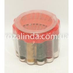 R449 Набор для шитья в круглом стакане: иголки + нитки + сантиметр