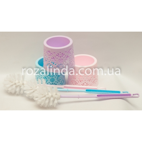 R178 Ёршик для унитаза ручка пластик + круглая ажурная колба