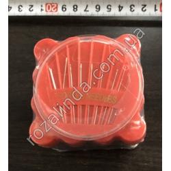 R468 Набор для шитья в квадратном стакане: иголки + нитки + сантиметр
