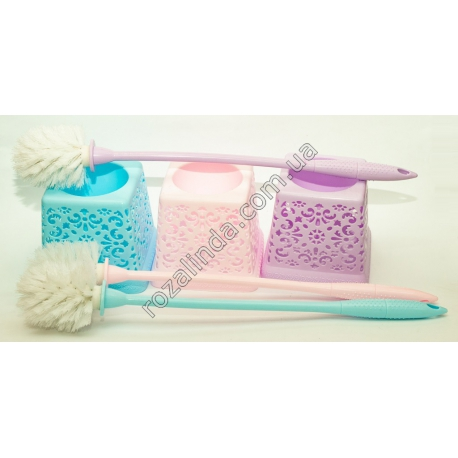 R179 Ёрш для унитаза с пласт. ручкой + колба квадратная ажурная