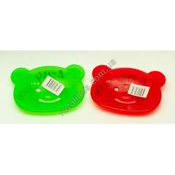 R134 Мыльница пластик в форме медведя с ушками