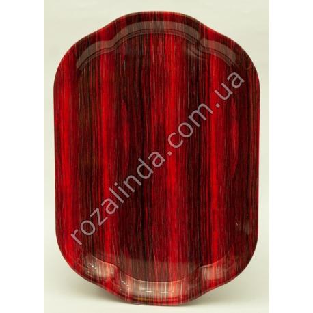 R50 Разнос прямоугольный с ручками пластиковый под дерево (35,5 х 24,5 см)