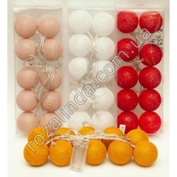 R595 Гирлянда - шарики в нитке на батарейках