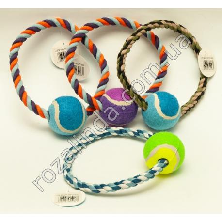 R498 Игрушка для собак кольцо с мячом