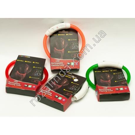 R519 LED ошейник для собак (светящийся) с зарядкой USB (35 см)