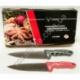 """R537 Нож кухонный фигурный красн. и чёрн. ручка с белыми узорами 7"""" (122 г)"""