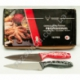 "R542 Нож кухонный красн. и чёрн. ручка с белыми узорами 6"" (27 см)"