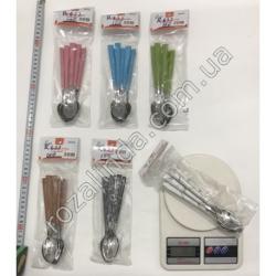 R633 Ложка чайная усиленная цветная ручка (160 г)