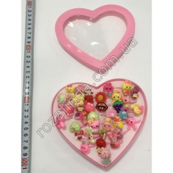 R738 Кольца детские (коробка сердечко) (14 х 15 см) (36 шт.)
