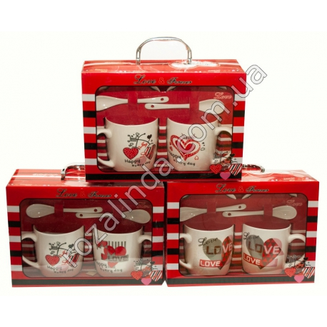 "R767 Набор чашек ""Love"" (коробка-сумка) (25 х 18 х 9 см)"""