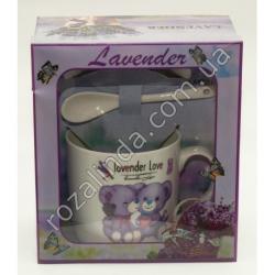 "R769 Чашка + ложка + крышка ""Lavender Love"" (17 х 15 х 9 см)"""
