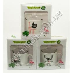 "R761 Чашка + ложка + крышка ""Cat Love"" (18 х 15 х 9 см)"""