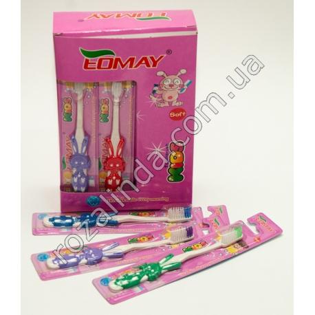 """R689A Зубная щётка """"Eomay"""" детская """"Зайчик"""" (15 см)"""