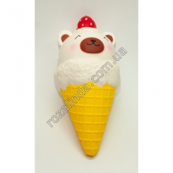 """R688B Сквиш - антистресс мороженое рожок """"Медведь с клубникой"""" (19 х 8 см)"""