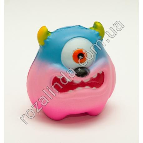 """R687B Сквиш - антистресс """"Монстр - циклоп"""" розовый (10 х 10 х 7 см)"""