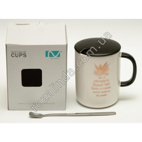 """R800 Чашка керамика """"Ананас"""" + крышка + ложка"""