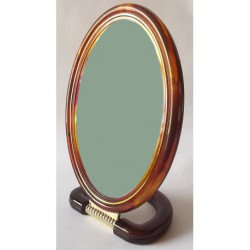 "A326 Зеркало 2х стороннее коричневое овал 8"""