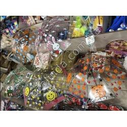 "R347 Зонт детский силикон прозрачный ""Зайчик + Смайл + Тигр + Лягушка"""