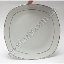 R807 Тарелка стеклокерамика для вторых блюд с серебрянными полосами по карю (квадратная, закруглённая) (22 см)