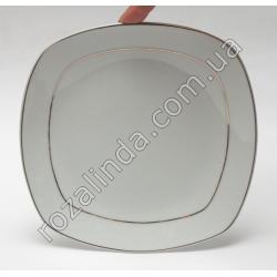 R806 Тарелка стеклокерамика для вторых блюд с серебрянными полосами по краю (квадратная, закруглённая) (18,5 см)