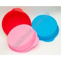 R1008 Форма для запекания круглая с ручками силиконовая (дно волнистое) (22 х 5,5 см) 142 г