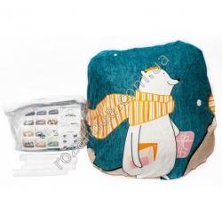 """M96 Чехол для дивана эластичный 2-x местный """"Полярный мишка с оранжевым шарфом, бирюза фон"""" + 1 наволочка"""