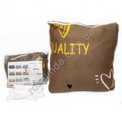 "M97 Чехол для дивана эластичный 2-x местный ""Quality жёлтое сердце"" + 1 наволочка"