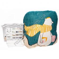 """M112 Чехол для дивана эластичный 3-x местный """"Полярный мишка с оранжевым шарфом, бирюза фон"""" + 1 наволочка"""