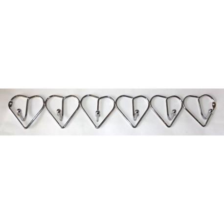 A374 Вешалка сердечки хром (6 крючков)