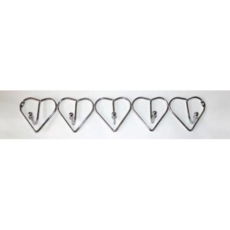 A373 Вешалка сердечки хром (5 крючков)