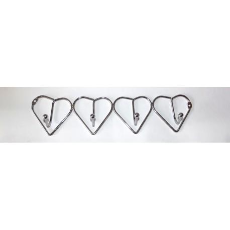 A372 Вешалка сердечки хром (4 крючка)