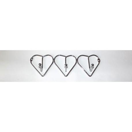 A371 Вешалка сердечки хром (3 крючка)